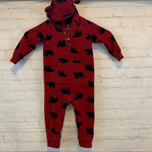 Carter's red & black bear print hooded one piece